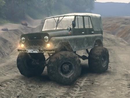 Скачать мод УАЗ с большими колесами для Spintires 2013