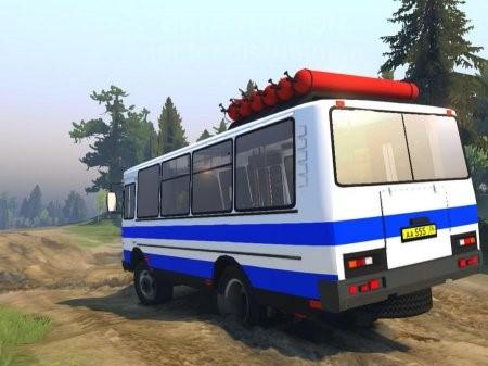 Скачать мод автобус ПАЗ 3205 v 2.0 для Spintires 2014