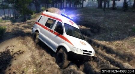 Скачать мод грузовик UAZ-27722 AMBULANCE – SPIN TIRES 2014