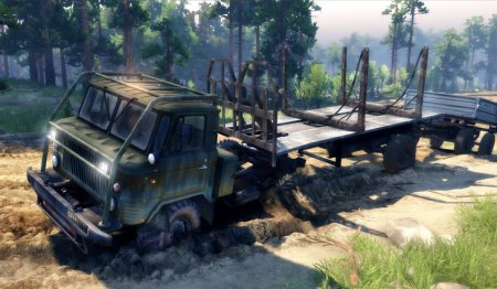 Скачать мод грузовик Газ-66П Активный автопоезд (6x6) для Spintires 13.04.2015