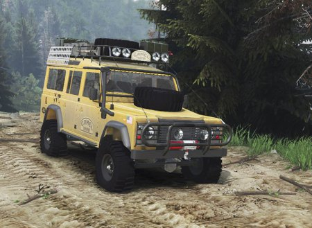 Скачать мод Land Rover Defender 110 Camel Trophy для Spintires 2015
