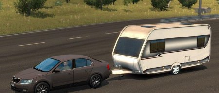 Скачать мод Skoda Octavia + Caravan Trailer для Euro Truck Simulator 2 v. 1.28-1.30