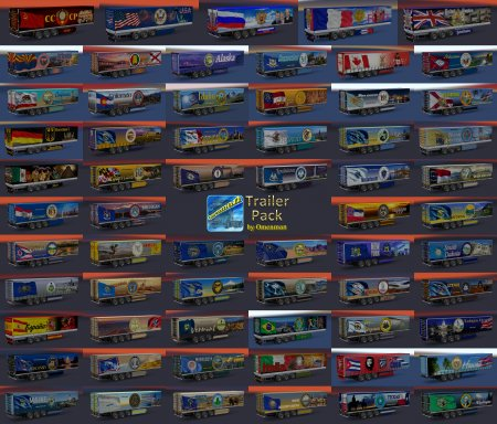Скачать мод пак прицепов Trailer Pack by Omenman v.1.15.00 для Euro Truck Simulator 2 v. 1.28-1.30