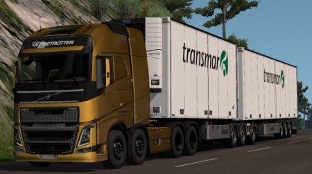 Скачать мод грузовик Volvo FH 2012 + двойные прицепы версия 16.02.19 для Euro Truck Simulator 2 v. 1.32-1.34