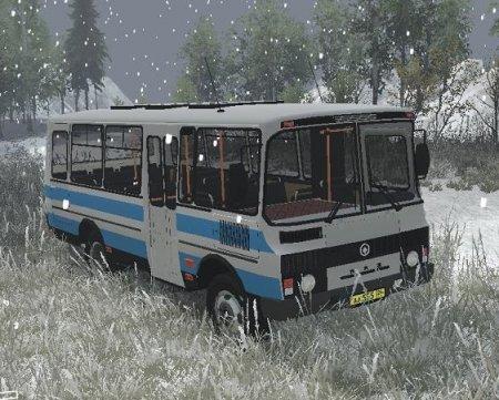 Скачать мод автобус ПАЗ-3205 4х2 версия 1.2 для Spintires v. 03.03.16